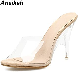 Aneikeh Women Slippers Hoe Sell High Heeled Women Strange Heels Mules PVC Transparent Comfortable Shoes Clear Open Toe Apricot Plus Size(11,Apricot)