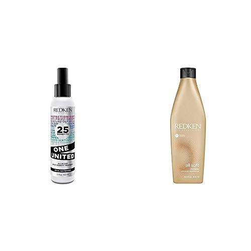 Redken - Tratamiento en Spray Multibeneficios One United, 25 Beneficios Todo en Uno, para Todo Tipo de Cabellos - 150 ml y Champú All Soft Suavizante para Cabellos Secos y Frágiles - 300 ml