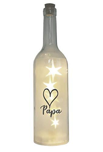 WB wohn trends LED-Flasche mit Motiv, Herz Papa, grau, 29cm, Flaschen-Licht Lampe mit Text Spruch