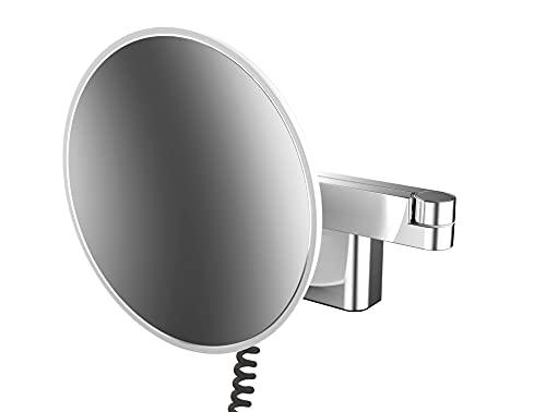 Emco LED Rasier- und Kosmetikspiegel, Wandmodell, Doppelgelenkarm, Vergrößerung 5- Fach, rund, Spiralkabel und Stecker