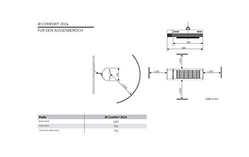 AEG Kurzwellen-Heizstrahler IR Comfort 2024, 2000 W, hocheffiziente Qualitäts-Goldröhre, 229954 - 6