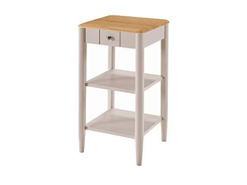 Kyla Telefontisch aus massivem Holz, lackiert, mit Eichen-Finish und 1 Schublade, 2 Ablagen, 74 x 38 x 38 cm, Finish: Eiche hell, Steingrau lackiert, Flur, Wohnzimmer, Schlafzimmer