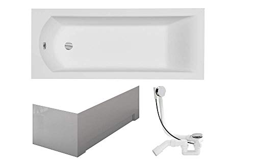 VBChome Badewanne 170x70 cm Acryl SET Shürze Siphon Wanne Rechteck Weiß Design Modern Ablaufgarnitur in Chrom Viega Simplex