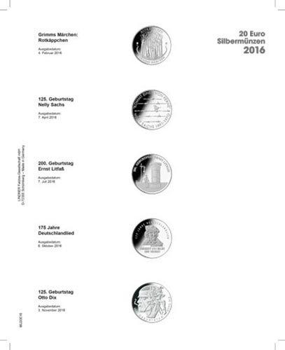 Lindner MU2E14 Multi collect Vordruckblatt für 20 € -Silbermünzen Bundesrepublik Deutschland