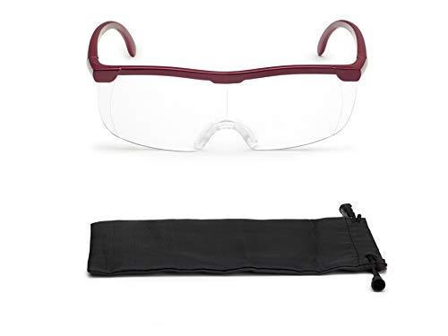 Vergrößerungsbrille Lupenbrille Zauberbrille Lupe auf der Nase optische Vergrößerung auf 200% (Rot)
