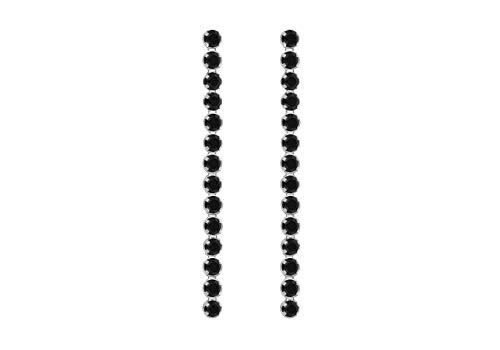 Tuscany Silver Damen Sterling Silber rhodiniert Schwarz Spinel 2.4mm x 33mm Drop Ohrringe 8.58.8579