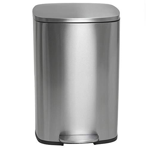 Kitchen Move BAT-97965 METAL - Cubo de basura de cocina con pedal (50 L, acero inoxidable cepillado, con cubo y cierre suave, 43 x 37 x 66 cm)