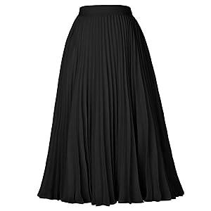 GRACE KARIN Women High Elastic Waist Pleated Chiffon Skirt Midi Swing A-line Skirts