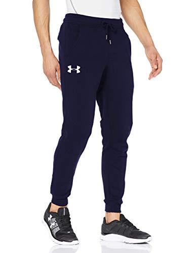 Under Armour Rival Fleece Pantalones de chándal para Hombre, cómodos Pantalones para Correr para Hombre, Pantalones Largos Deportivos y Ajustados, Midnight Navy/White (410), MD