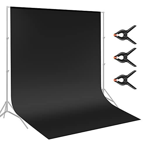 Neewer 2,8x4,6m Fondale Sfondo Fotografico in Poliestere con 3pz Clip per Fotografia Registrazioni Video (Nero)