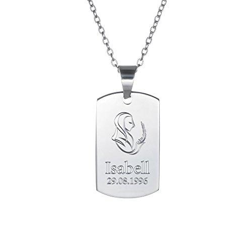 Gravado Halskette aus Edelstahl mit Dog Tag Anhänger – Tierkreiszeichen Sternzeichen – Namensgravur – Unisex Schmuck – Länge 50 cm
