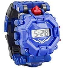 YuWei Smart Robot Toy Watch Transform Toys Kids 2 in 1 Electronic Transformers Toys Watch Deformed Robot Manual Transformation Robot Toys Children's Gift 3-6 Ages (B-BLUE)
