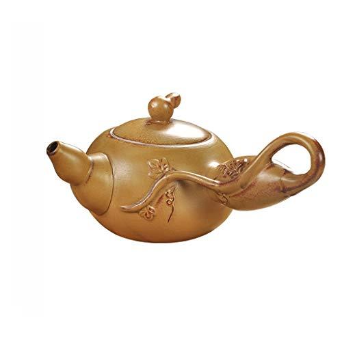 SCYMX Simple Household Stoneware Gourd Side Handle Ceramic Handmade Tea Maker with Filter Teapot