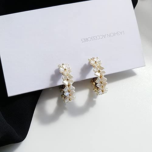 zhengyang Flower Earrings Fashion Jewelry White Resin Hoop Earrings Ladies Jewelry Girls Student Party Gifts (Metal Color : S925 Needle)