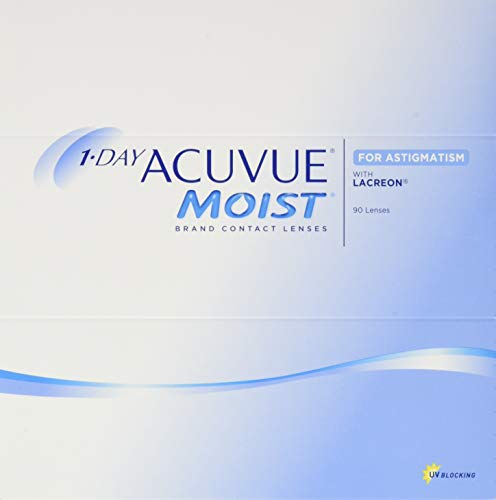Acuvue 1-Day Acuvue Moist For Astigmatism Tageslinsen weich, 90 Stück/ BC 8.5 mm / DIA 14.5 mm/ CYL -1.75 / ACHSE 130 / -0.5 Dioptrien