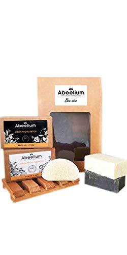 Abeelium Pack Bee Nice | Jabon Facial Cremoso, Jabon Facial Detox, Esponja de Konjack y Jabonera de madera | Producto natural y Ecológico Hecho en España