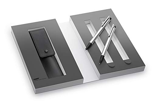 Lamy 1230492 Set de bolígrafo y portaminas con funda de piel en una caja de regalo M 205/105 mate, plata/negro