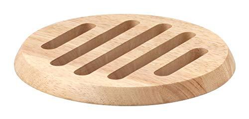 Continenta ronde houten onderzetters van rubberhout, onderlegger voor potten en pannen, grootte: Ø 20 x 1,5 cm