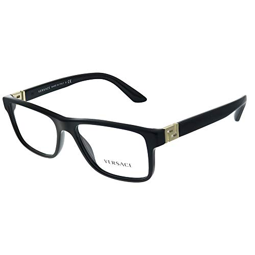 Versace VE 3211 GB1 Black Plastic Rectangle Eyeglasses 55mm