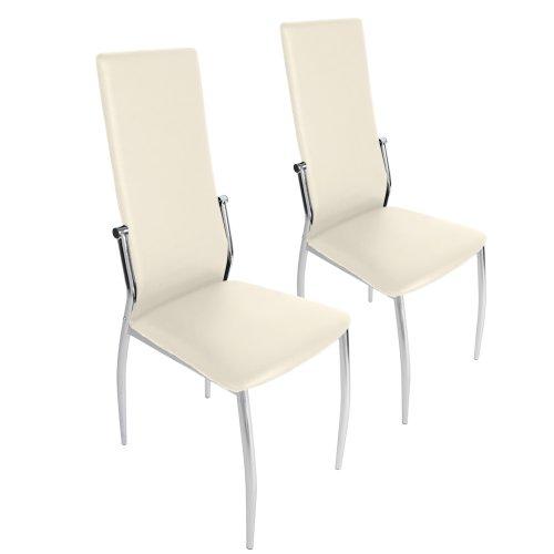 Miadomodo - EZSTL04-1creme - Conjunto de 2 sillas de Comedor de Cuero Artificial - Crema - Dos Colores a Elegir