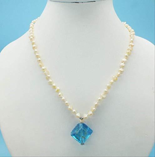 YMKCMC Collar Colgante De Perla Barroca Rosa Y Cristal Antiguo De 3-4 Mm.Very Beautiful Ladies Colgante, Collar 18