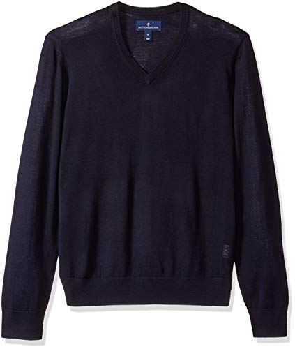 BUTTONED DOWN Men's Italian Merino Wool Lightweight Cashwool V-Neck Sweater, Midnight Navy, Large