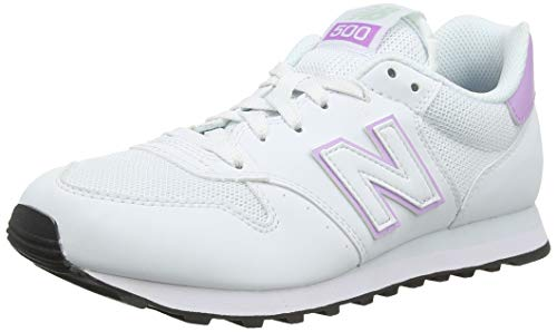 New Balance Damen 500 Sneaker, Weiß (Munsell White/Dark Violet Glo/Platinum Sky Swv), 38 EU