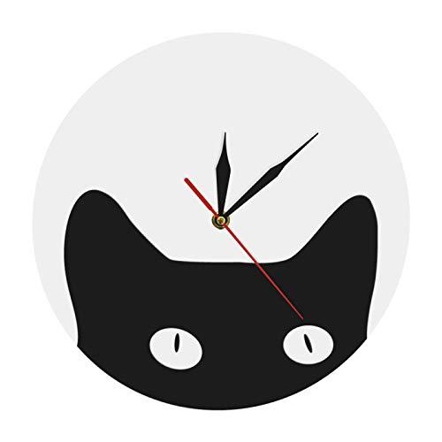 Reloj de pared con diseño de gato y cuties para guardería y habitación de los niños, con diseño de gato loco y divertido reloj de pared para mujer