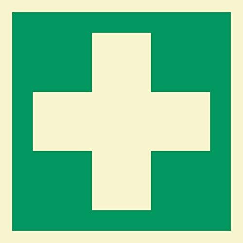 Erste Hilfe Rettungszeichen Rettungswegschild Schild Nachleuchtend ASR A1.3 200 x 200 mm