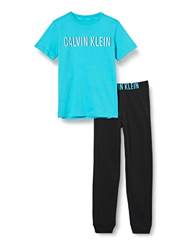 Calvin Klein Jungen Knit Pj Set (ss+Cuffed Pant) Zweiteiliger Schlafanzug, Blau (1PeacockBlue/1Black 0G6), 14-15 Jahre (Herstellergröße: 14-16)