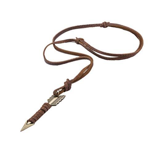 Abaodam Collar de cadena de cuero con colgante simple retro hecho a mano collar para hombres