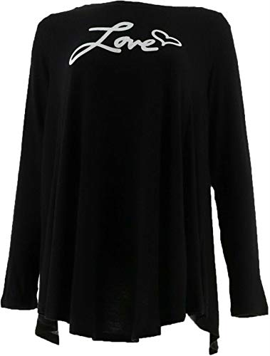 AnyBody Loungewear Brushed Hacci Message Swing Top BLACK/LOVE XL NEW A292756