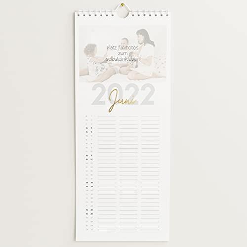 sendmoments Familienkalender 2022 gestalten mit Veredelung in Gold, Großes Jahr, Bastelkalender mit 3 Spalten, Spiralbindung, Hochformat 148x360