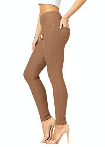 Premium Stretch Soft High Waisted Jeggings for Women - Denim Leggings - Cotton Stretch Blend - Full Length Mocha Brown - US 0-10