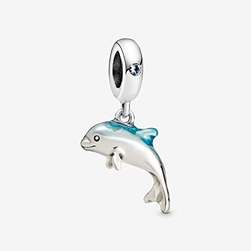 ZSCZQ Abalorio de Plata de Ley 925 auténtica de Verano, Cuentas de la Serie oceánica Que se adaptan a la Pulsera de dijes Originales, joyería DIY para Mujer, delfín