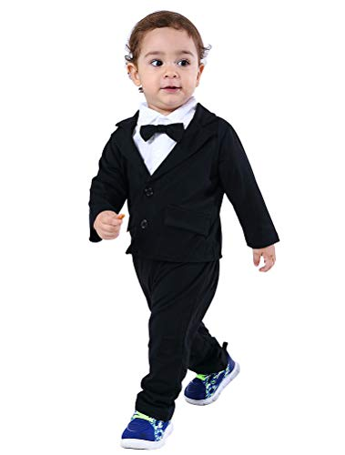 Abolai Baby Boys Gentleman Sets Blazer and Pant and Long Sleeve Shirt 3pcs Leisure Suit Black 90