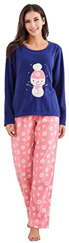 Richie House Women's Soft and Warm Fleece Two-Piece Set RHW2773-A-M Navy/Pink