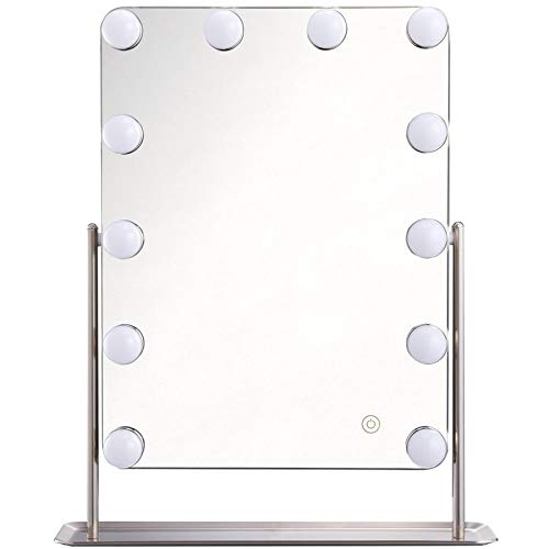 FLINQ Hollywood Kosmetikspiegel mit LED Licht | Design Schminkspiegel | Perfekte Beleuchtung | 12 LED Licht | Dimbarer 360 Grad Kipp Makeup Mirror with Light