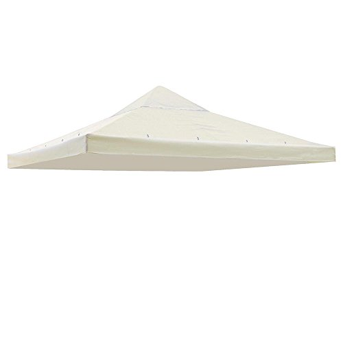 KOVAL INC. 10' x 10' Replacement Gazebo Canopy Awning Roof Top Waterproof 200g Canvas (Ivory)