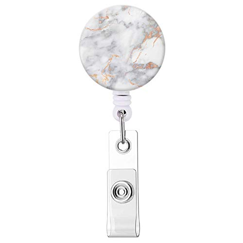 Badge Reel, White Marble Retractable ID Card Badge Holder with Alligator Clip, Name Nurse Decorative Badge Reel Clip on Card Holders