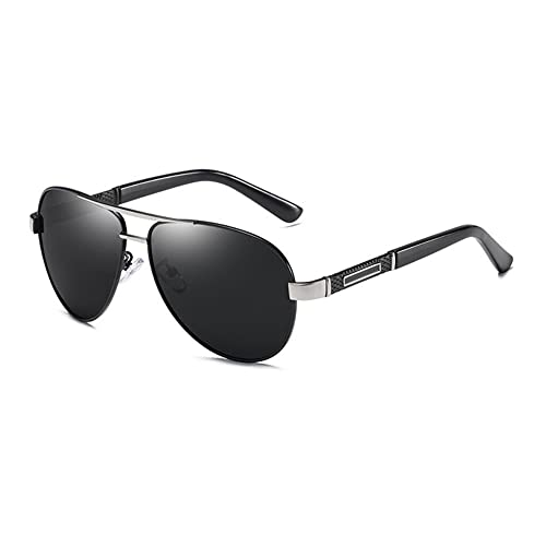 DovSnnx Unisex Polarizadas Gafas De Sol 100% Protección UV400 Sunglasses para Hombre Y Mujer Gafas De Aviador Gafas De Ciclismo Ultraligero Toad Espejo Negro Marco Plateado Lente Gris