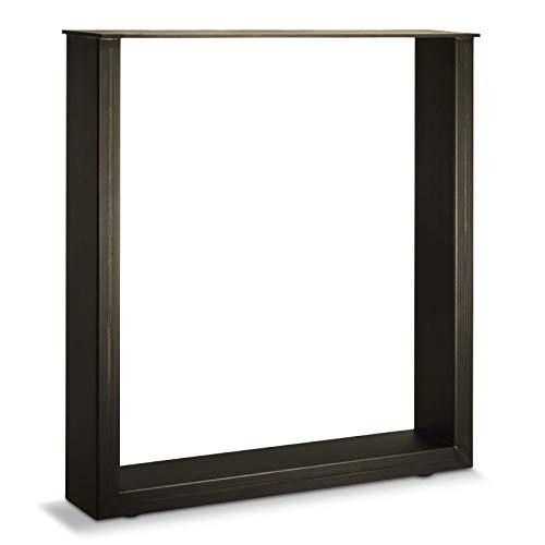 Design Tischgestell KUFE 720 x 700 mm Rohstahl Industrial/Vintage Look natur lackiert bis 250 Kg Belastbarkeit höhenverstellbar Tischunterbau Tischuntergestell SO-TECH®