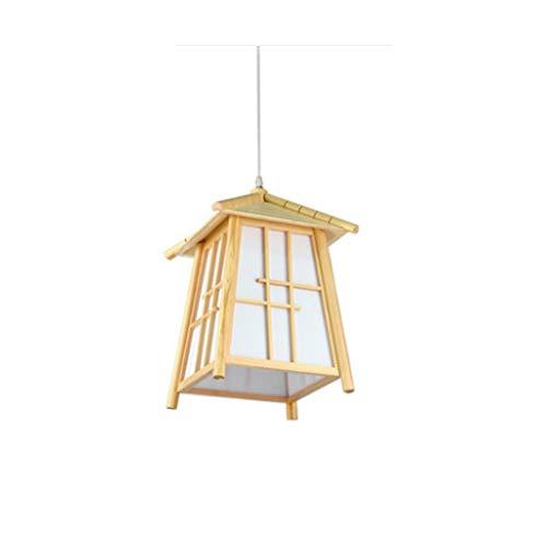 N/A XMMDD Holz Kronleuchter - Anhänger Kronleuchter, Modern Minimalist Stil Single Head Kronleuchter, Glas Plus Holz Lampshade