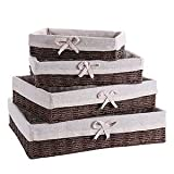 EBBCOWRY Handmade Wicker Storage Baskets Set Woven Decorative Home Storage Bins Nesting Organizer Container with Cotton Linen Linings(Set of 4)(Brown)