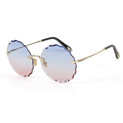 Gafas de sol nuevas flores gafas de sol con personalidad sin marco gafas de sol de color degradado para mujer gafas de sol con montura redonda marea sobre el polvo azul 20.0 cm * 20.0 cm * 20.0 cm