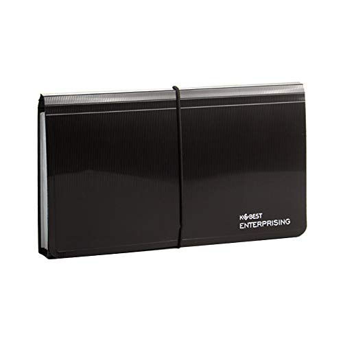 Bearda 13 Pockets Receipt Folder - Premium Poly Accordion Document File Storage Wallet Small Check File Organizer for Coupons Tickets, Mini Portable Expanding Folder, Upgraded Long Fasten Rope (Black)