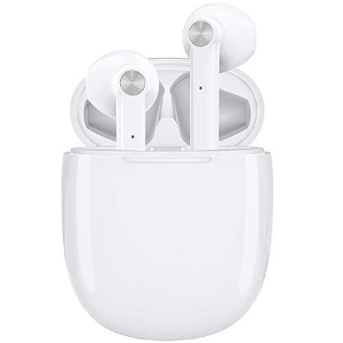 LETSCOM Bluetooth Kopfhörer, Bluetooth 5.0 kabellose Kopfhörer in Ear drahtlose Stereo Kopfhörer, 20 Stunden Spielzeit, Bluetooth Ohrhörer mit integriertem Mikrofon für Sport und Arbeit-Weiß