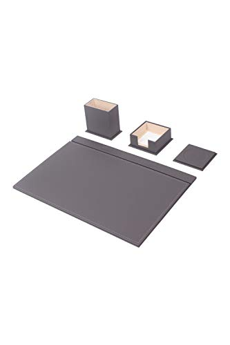 Calme-D - Juego de 4 protectores de escritorio de 49 cm x 34 cm, de piel sintética, color gris