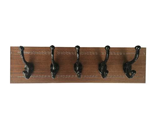 Wandgarderobe aus Holz, rustikal, mit 5 Haken, ideal zur Dekoration, Wohnung, originell.
