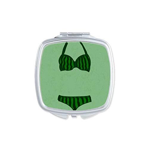 DIYthinker Stripe Sexy Cyan Bikini Set Illustration Miroir carré Maquillage Compact Portable Mignon Miroirs de Poche à la Main Cadeau